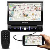 """DVD Player Automotivo Pósitron SP6330BT 1 Din 7"""" Retrátil BT Espelhamento USB SD MP3 Com Controle - Positron"""
