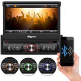 "DVD Player Automotivo Quatro Rodas MTC6617 1 Din 7"" Retrátil Bluetooth USB MicroSD AUX FM MP3 WMA"