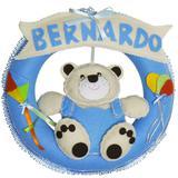 Enfeite de Porta Feltro Azul Urso Pipa Balão Personalizado com Nome - Mais que baby