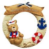 Enfeite de Porta Feltro Bege Urso Marinheiro Âncora Bóia Personalizado com Nome - Mais que baby