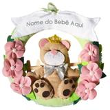 Enfeite de Porta Feltro Rosa e Verde Ursa Princesa Flores Personalizado com Nome - Mais que baby
