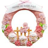 Enfeite de Porta Feltro Rosa Ovelhas Borboletas Flores Personalizado com Nome - Mais que baby