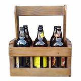 Engradado caixa para 6 garrafas de cerveja artesanal em madeira - Poma shop