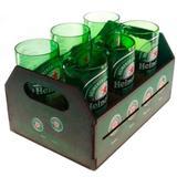 Engradado Com 6 Copos De Vidro Heineken Retrô - Versare anos dourados