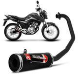 Escapamento Moto Esportivo CG Start 160 2016 a 2017 Shutt Powerbomb Com Bacalhau Sem Protetor Preto