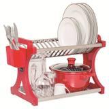 Escorredor 20 Pratos Alto em Aço Inoxidável Vermelho. - Soltecn