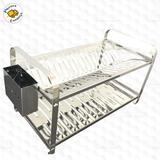 Escorredor de louça 20 pratos inox montado com porta talher inox - MAKINOX - Mak inox