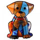 Escultura Romero Britto Cachorro Boxer - Resina - 15cm x 11cm x 10cm - Trevisan Concept