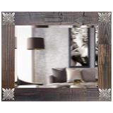 Espelho Decorativo Rústico Moldura Marrom com Apliques na Cor Prata Envelhecido - Decore pronto