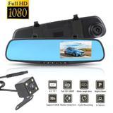 Espelho Retrovisor Estacionamento Carro Sensor Tela LCD Kit Camera Re Frontal - Braslu