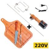 Espeto Giratorio Eletrico Basico 220v + Tabua Bambu com Garfo + Faca  Mor