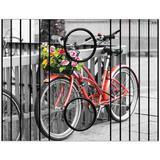 Esteira Bandeja Porta Copos Para Braço de Sofá Estampada  Bicicleta vermelha com flores - Móblis