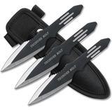 Faca De Arremesso Thunder Bolt Preta, Conjunto Com 3 Facas Master Cutlery