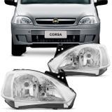 Farol Corsa Hatch Sedan Montana 2003 2004 2005 2006 2007 2008 2009 2010 Máscara Cromada - Prime
