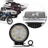 Farol Milha Redondo 9 LEDs 27W 12/24V Universal Auxiliar Neblina Carro Moto Caminhão Trator - Prime