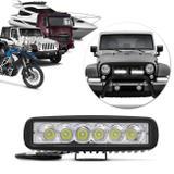 Farol Milha Retangular 6 LEDs 18W 12/24V Universal Auxiliar Neblina Carro Moto Caminhão Trator - Prime