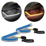 Fita de LED DRL Dual Color Universal 3000K 6000K 12V Farol e Seta Luz Diurna Daylight 30cm - Suns farois