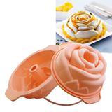 Forma assadeira de silicone para bolos e sobremessas rose 18cm prana