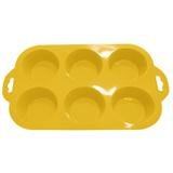 Forma para cupcake redonda de silicone amarelo/ niazitex