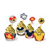 Forminha Wrapper para Cupcake Mickey Clássico 12 unidades Regina Festas