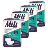 Fralda de uso Adulto Mili VITA  Tamanho M  4 pacotes de 9 fraldas  Total  36 Fraldas com Super Gel