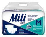 Fralda Geriatrica Adulto MILI  VITA  Tam M   27 Fraldas com Super Gel Absorvente Conforto e Proteção