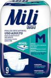 Fralda Geriátrica Mili Vita Tamanho M  1 Pacote com 9 fraldas com Super Gel Absorvente Mais Conforto
