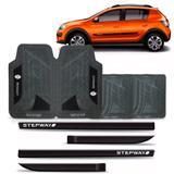 Friso lateral sandero stepway personalizado modelo original + jogo tapete - Sp acessórios