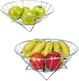 Fruteira de mesa de metal redonda com pe 29cm de ø - erca aramados
