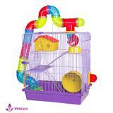 Gaiola Hamster 3 Andares Tubo Luxo 3 Cores - Jel plast