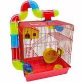Gaiola Hamster Tubos 3 Andares Vermelha 26x38x43 Power Pets