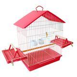 Gaiola Para Calopsita Pássaro Manso Jel Plast de Aramado com Teto Plástico Vermelha