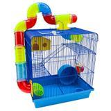 Gaiola Para Hamster Roedores Jel Plast Super Luxo 3 Andares Azul