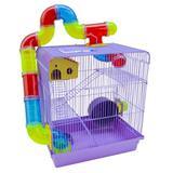 Gaiola Para Hamster Roedores Jel Plast Super Luxo 3 Andares Lilás
