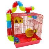 Gaiola Para Hamster Roedores Jel Plast Super Luxo 3 Andares Vermelha