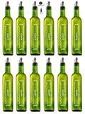 Galheteiro Quadrado Verde 500ml Azeite Pacote 12 Unidades Biqueira Branca - Unique - Vetrolar