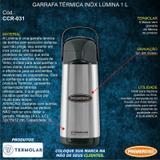 Garrafa Térmica Café Chá Pressão Inox 1 Litro Não Pinga Conserva 6 Horas - 122124 - Termolar
