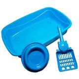 Gato Kit Azul 3 Em 1 Com Bandeja Pá E Comedouro - Pet injet