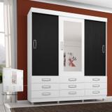 Guarda Roupa Casal com Espelho 3 Portas 4900 Araplac Branco/Preto