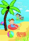 Happy Birthday - Beach Stickers - Cardooo