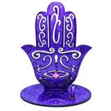 Incensário MDF Mão Hamsa Fátima Roxo 13cm - Mandala de luz