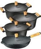 Jogo 4 Pcs 3 Caçarolas De 4 Até 6 L Mais Frigideira Panela M - Panela mineira