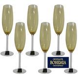 Jogo 6 Taças Champanhe Cristal Gastro Amarelo 220ml Bohemia