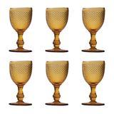 Jogo 6 Taças Vidro Para Vinho Bico De Jaca Ambar 230ML Bon Gourmet