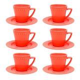 Jogo 6 Xícaras De Chá Com Pires Oxford Mendi Cerâmica Coral