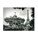 Jogo americano decorativo, criativo e descolado  Carrossel e Torre Eiffel em Paris na França - tamanho 30 x 40 cm - Colours  creative photo decor