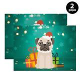 Jogo Americano Mdecore Dog Noel 40x28cm Verde