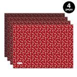 Jogo Americano Mdecore Natal Bengala 40x28 cm Vermelho