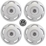 Jogo Calota Aro 13 Orbital Universal Volkswagen Gol Grid Prata 4 Peças + Emblema Resinado - Grid calotas