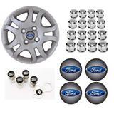 Jogo Calota Aro 14 Ford Fiesta Sedan Hatch 2011 2013 Grid Prata + Emblema Resinado + Tampa Ventil + Capa Parafuso - Grid calotas